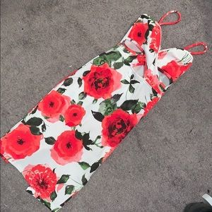 Dresses - Spaghetti Strap cutout Floral Dress